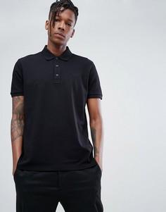 Черная футболка-поло из пике с логотипом HUGO - Черный