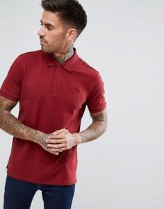 Бордовая футболка-поло из пике с логотипом HUGO - Красный