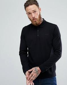 Черная футболка-поло из пике с длинными рукавами и логотипом HUGO - Черный