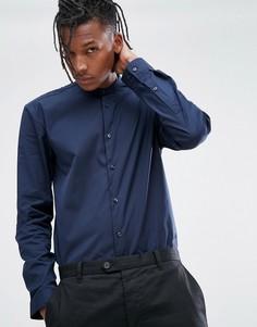 Темно-синяя поплиновая рубашка с воротником на пуговице HUGO - Темно-синий