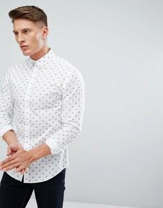 Приталенная премиум-рубашка с принтом черепа Jack & Jones - Белый