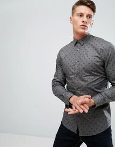 Приталенная премиум-рубашка с принтом черепа Jack & Jones - Серый