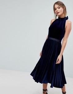 Бархатное платье миди с плиссировкой Ted Baker - Синий