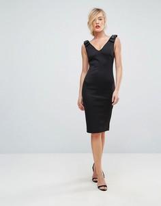 Облегающее платье с отделкой на плечах Ted Baker - Черный