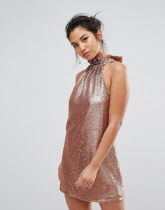 Платье мини с пайетка C/Meo Collective - Медный
