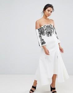 Платье миди с вышивкой C/Meo Collective Paradise - Белый
