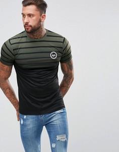 Обтягивающая футболка цвета хаки с полосками и эффектом выцветания Hype - Зеленый