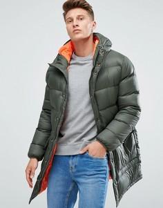 Дутое пальто цвета хаки Esprit - Зеленый