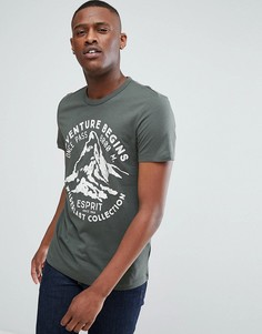 Зеленая футболка с принтом Esprit - Зеленый