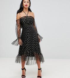 Платье миди с открытыми плечами и принтом звезд John Zack Petite - Черный