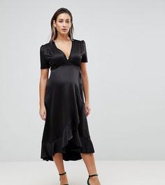 Приталенное платье миди с запахом и асимметричной оборкой Queen Bee Maternity - Черный