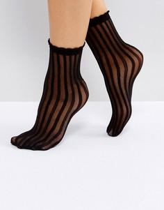 Носки в полупрозрачную полоску Monki - Черный