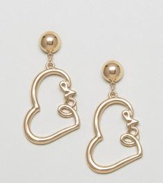 Серьги в форме сердца с подвеской Love Monki - Золотой
