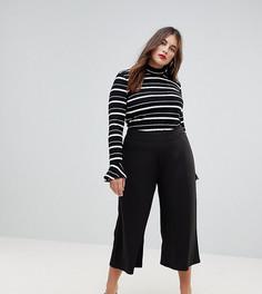Черные укороченные брюки с широкими штанинами ASOS CURVE - Черный