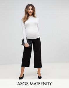 Черные укороченные брюки с широкими штанинами ASOS MATERNITY - Черный