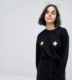 Новогодний свитшот со звездочками Monki - Черный