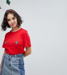 Новогодняя футболка с елками Monki - Красный