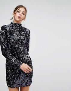 Платье с длинными рукавами и пайетками PrettyLittleThing - Мульти