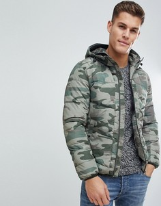 Дутая куртка с камуфляжным принтом Jack & Jones Originals - Зеленый