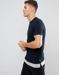 Удлиненная футболка с контрастной вставкой по нижнему краю Jack & Jones Originals - Черный