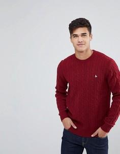 Джемпер малинового цвета с круглым вырезом и узором в косичку Jack Wills Marlow - Красный