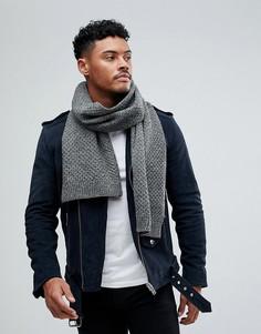 Серый вязаный шарф Burton Menswear - Серый