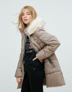 Укороченное стеганое пальто New Look - Светло-бежевый