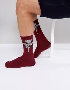 Красные носки с принтом роз HUF Ambush - Красный