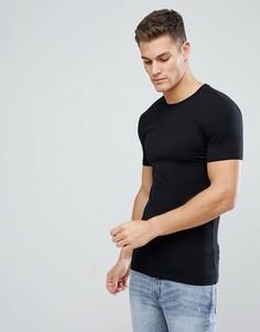Черная обтягивающая футболка с круглым вырезом ASOS - Черный