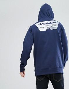Худи темно-синего цвета с логотипом на спине Armada Driftwood - Темно-синий