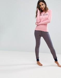 Пижама с полосатыми леггинсами и топом с логотипом Jack Wills - Мульти