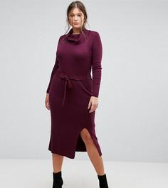 Трикотажное платье с поясом Simply Be - Фиолетовый