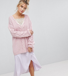 Джемпер крупной вязки с V-образным вырезом OneOn - Розовый