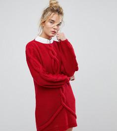Вязаное оверсайз-платье с узором косичка OneOn - Красный