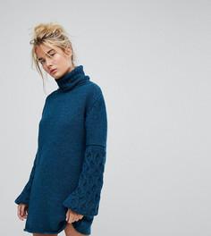 Платье ручной вязки с фактурными рукавами OneOn - Синий