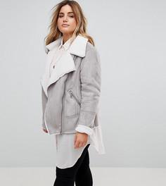 Куртка-авиатор из искусственной цигейки New Look Curve - Серый