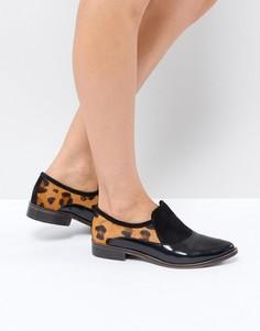 Лоферы-слипоны с леопардовым принтом Free People - Черный