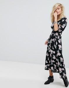 Платье миди с цветочным принтом Free People - Черный