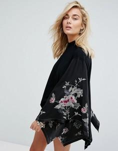 Топ-кимоно с вышивкой Free People - Черный