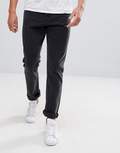 Черные укороченные джинсы слим заниженного кроя Weekday Line Unisex - Черный