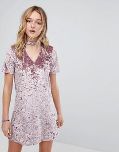 Платье из мятого бархата с лентой на шее Hollister - Красный