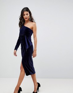 Бархатное платье миди на одно плечо с пайетками Lavish Alice - Темно-синий