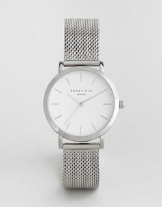 Серебристые часы с сетчатым ремешком Rosefield Tribeca 33 мм - Серебряный