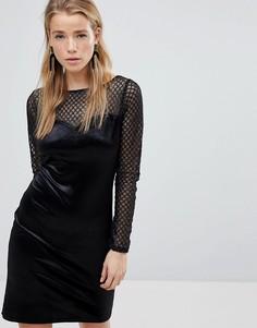 Бархатное платье с длинным рукавом New Look - Черный