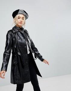 Лакированное пальто New Look - Черный