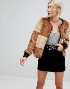 Куртка из искусственного меха в стиле пэтчворк New Look - Коричневый