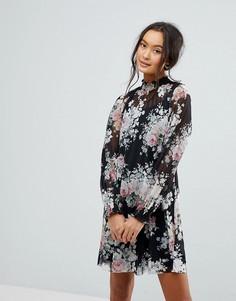 Платье с длинными рукавами и принтом New Look - Черный