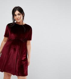 Бархатное чайное платье мини ASOS CURVE - Красный