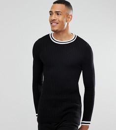 Черная обтягивающая футболка с контрастной отделкой ASOS TALL - Черный