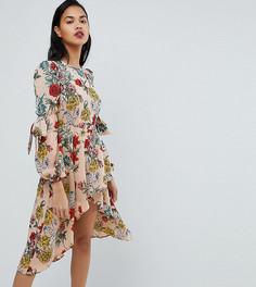 Платье миди с цветочным принтом PrettyLittleThing - Бежевый